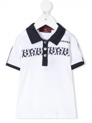 Рубашка-поло с короткими рукавами и контрастными вставками Aigner Kids. Цвет: белый