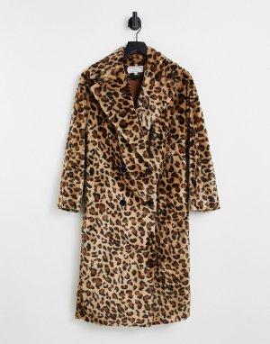 Двубортная шуба из искусственного меха с леопардовым принтом Helene Berman-Разноцветный