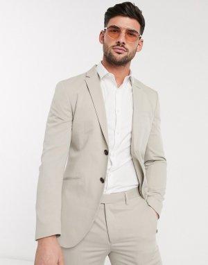 Светло-бежевый пиджак узкого кроя из переработанного полиэстера Premium Jack & Jones