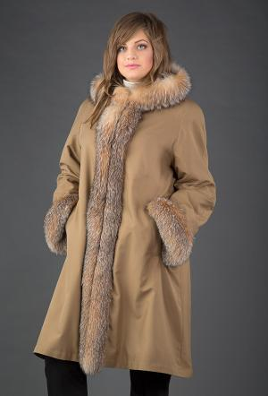 Длинное женское зимнее пальто на меху большой размер Rolf Schulte. Цвет: бежевый