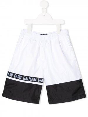 Плавки-шорты с логотипом Balmain Kids. Цвет: белый