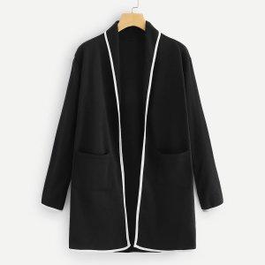 Твидовое пальто с карманом и контрастной отделкой SHEIN. Цвет: чёрный