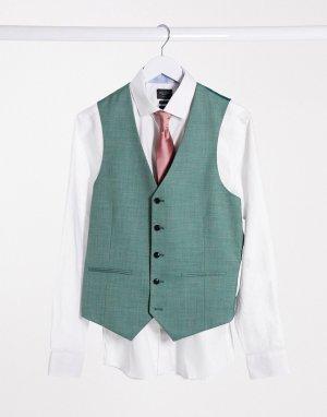 Приталенный жилет -Зеленый цвет Harry Brown