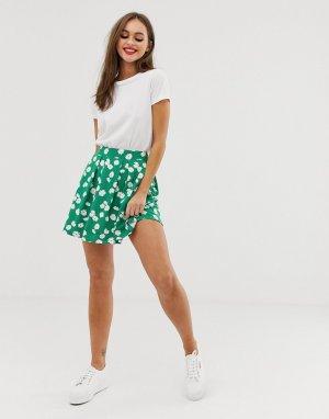 Мини-юбка со складками и мелким цветочным принтом -Мульти ASOS DESIGN