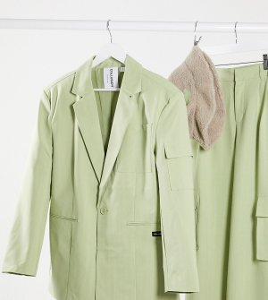 Пиджак в стиле oversized тонкую полоску COLLUSION Unisex-Зеленый