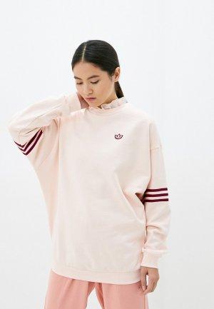 Свитшот adidas Originals RUFFLE CREW. Цвет: розовый