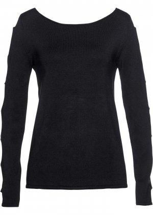 Пуловер с вырезами bonprix. Цвет: черный