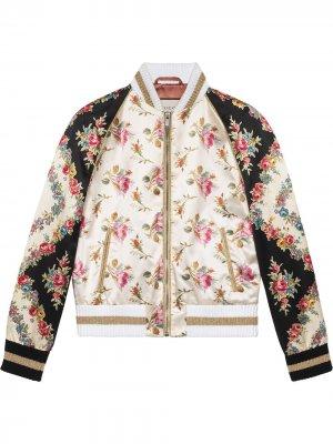 Куртка-бомбер с цветочным принтом Gucci. Цвет: розовый