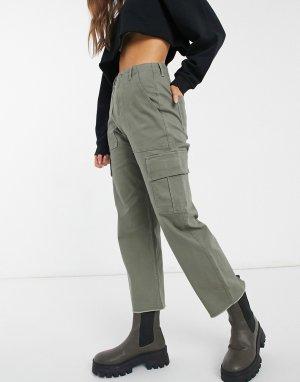 Прямые брюки цвета хаки с завышенной талией в утилитарном стиле -Зеленый цвет Hollister