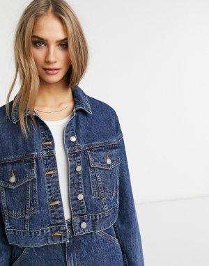 Синяя укороченная джинсовая куртка в стиле oversized Yoko-Голубой Dr Denim