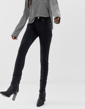 Черные зауженные джинсы из органического хлопка с завышенной талией Thursday-Черный Weekday