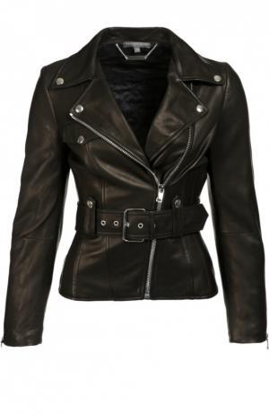 Приталенная кожаная куртка с косой молнией Alexander McQueen. Цвет: черный