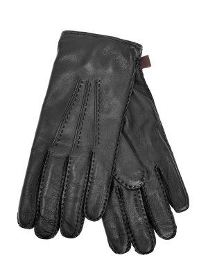 Кожаные перчатки с подкладкой из кашемировой пряжи MORESCHI. Цвет: черный