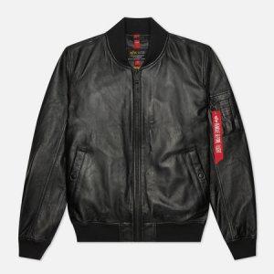 Мужская куртка бомбер MA-1 Leather LW II Alpha Industries. Цвет: чёрный