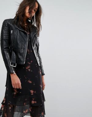 Стеганая кожаная байкерская куртка с ремнем AllSaints. Цвет: черный