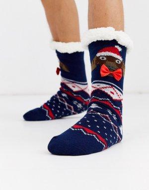 Новогодние носки -Темно-синий ASOS DESIGN