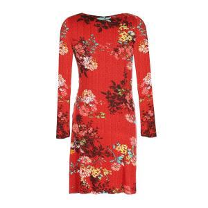 Платье прямого покроя с цветочным рисунком, длина 3/4 DERHY. Цвет: красный наб. рисунок