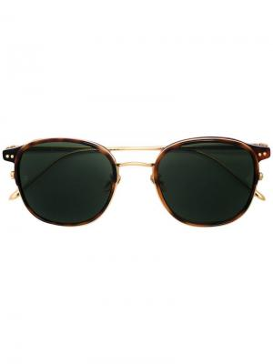 Солнцезащитные очки в круглой оправе Linda Farrow. Цвет: золотистый