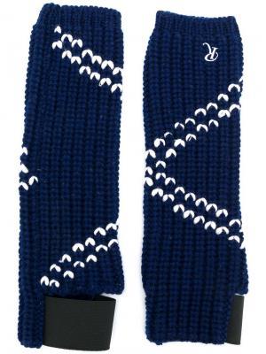 Вязаные перчатки с контрастной отделкой Raf Simons. Цвет: синий