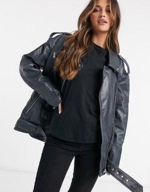 Кожаная байкерская куртка в стиле oversized -Черный ASOS DESIGN