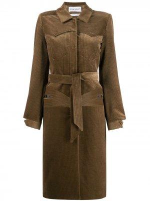 Вельветовое пальто с поясом Situationist. Цвет: коричневый