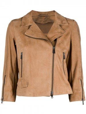 Байкерская куртка Giorgio Brato. Цвет: коричневый