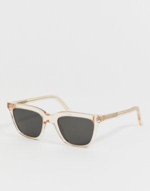 Солнцезащитные очки в квадратной оправе цвета шампанского Robotnik-Коричневый Monokel Eyewear