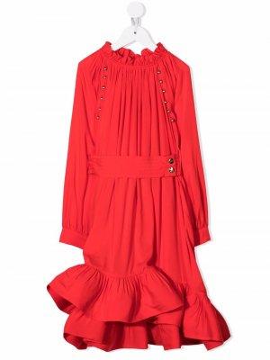 Ruffle-trim belted dress LANVIN Enfant. Цвет: красный