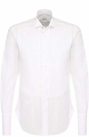 Хлопковая сорочка с воротником бабочка Kiton. Цвет: белый