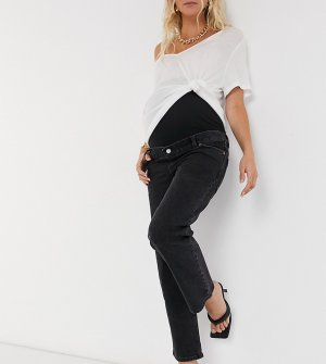 Черные прямые джинсы с завышенной талией и вставкой для живота ASOS DESIGN Maternity-Черный Maternity