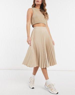 Светло-бежевая плиссированная юбка миди -Бежевый Closet London