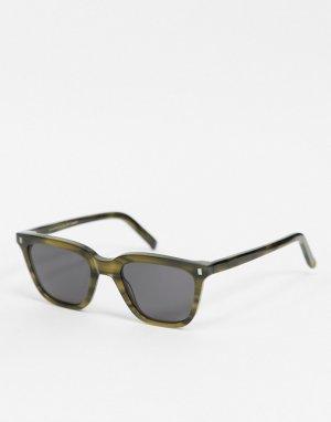 Квадратные солнцезащитные очки унисекс в темно-зеленой оправе Robotnik-Зеленый Monokel Eyewear