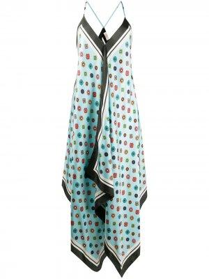 Платье асимметричного кроя с принтом Altea. Цвет: синий