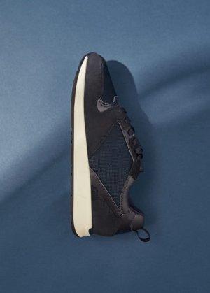 Комбинированные кроссовки из спилка - Runsoft Mango. Цвет: синий