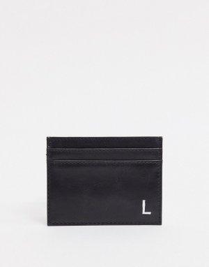 Кожаный кошелек для карт с инициалом L -Черный Peter Werth