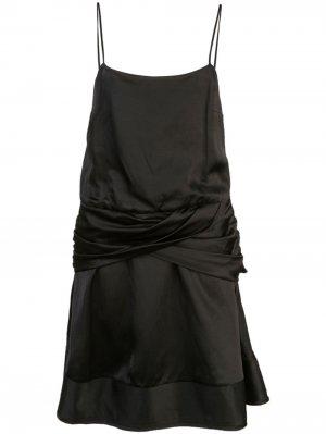 Атласное платье мини с драпировкой на поясе Derek Lam 10 Crosby. Цвет: черный