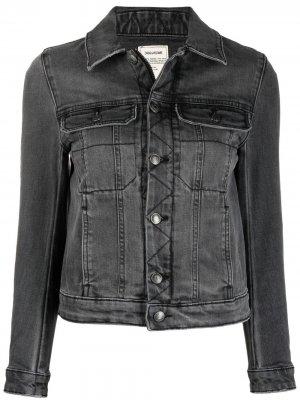 Джинсовая куртка с нашивкой-логотипом Zadig&Voltaire. Цвет: серый