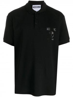 Рубашка поло с принтом Moschino. Цвет: черный