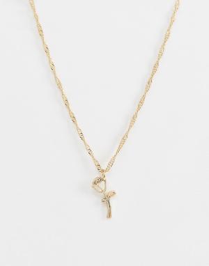 Золотистое ожерелье с подвеской в виде розы -Золотой ASOS DESIGN