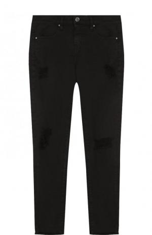 Укороченные джинсы-скинни с потертостями Iro. Цвет: черный