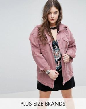 Рваная джинсовая куртка Missguided Plus. Цвет: розовый