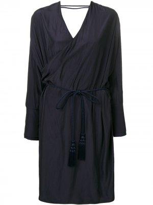 Платье миди с запахом LANVIN. Цвет: синий