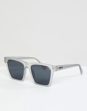 Квадратные солнцезащитные очки в белой оправе alright-Белый Quay Australia
