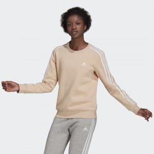 Флисовый джемпер Essentials 3-Stripes Sportswear adidas. Цвет: белый