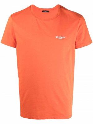 Футболка с логотипом Balmain. Цвет: оранжевый