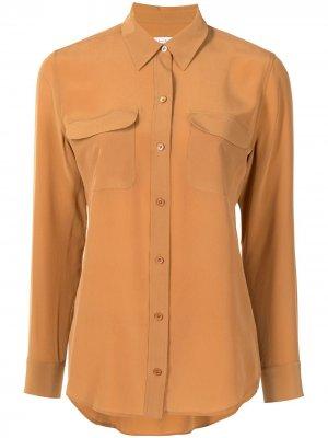 Рубашка на пуговицах Equipment. Цвет: коричневый