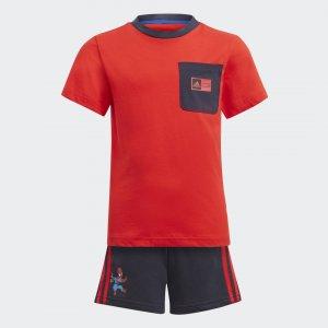 Комплект: футболка и шорты Superhero Adventures Summer Performance adidas. Цвет: красный