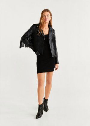 Кожаная куртка с бахромой - Fringe Mango. Цвет: черный