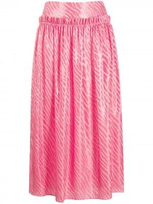 Плиссированная юбка с зебровым принтом By Malene Birger. Цвет: розовый