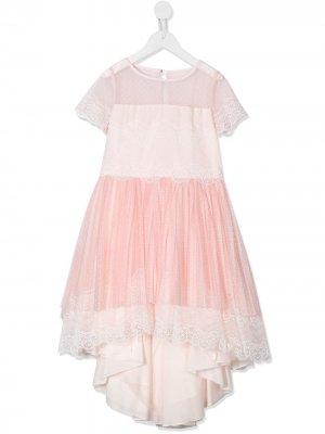 Платье из тюля с асимметричным подолом Aletta. Цвет: розовый
